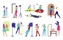 Photographer elements for professional studio, vector illustration.Woman man charcater work together collection. Create cartoon photographs