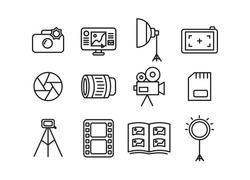 Photographer icon set. Photographer equipment icons. Photography, woking, lens, camera, memory card, photo album, tripod, shutter, camcorder, softbox, film, ring lamp