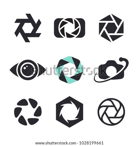 Photographer logo design, photography and photo camera icon, diaphragm symbol