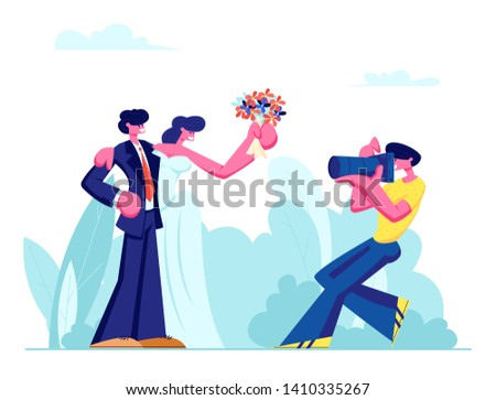Photographer Making Picture of Young Couple of Bride in White Dress Holding Flowers Bouquet and Groom in Suit on Wedding Open Air Ceremony, Green Meadow Background Cartoon Flat Vector Illustration.