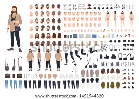 Photographer or photo journalist constructor kit or avatar generator set. Bundle of body parts, casual clothes, equipment. Male cartoon character. Front, side, back views. Flat vector illustration.