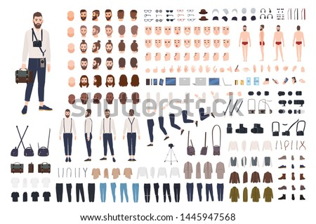 Photographer or photo journalist constructor kit or DIY set. Collection of body parts, clothes, professional equipment. Male cartoon character. Front, side, back views. Flat vector illustration.