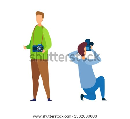 Photographer, Paparazzi Cartoon Characters Set. People with DSLR Vector Illustration. Professional Photography Hobby, Photo Session, Studio. Journalist, Reporter Profession. Cameraman Taking Picture