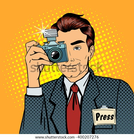 Photographer Paparazzi Reporter with Camera. Media Representative Man Taking a Picture. Pop Art Banner. Vector illustration