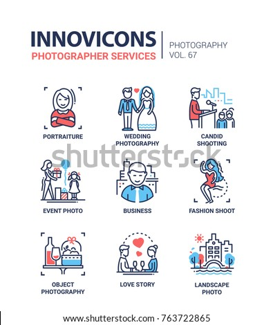 Photographer services - line design icons set