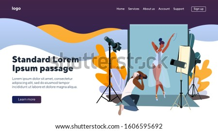 Photographer shooting ballerina. Man taking photos of dancing model flat vector illustration. Photoshoot and modeling concept for banner, website design or landing web page