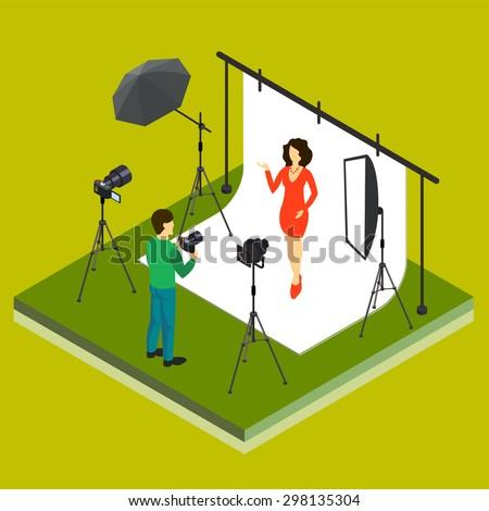 photographer shooting model in