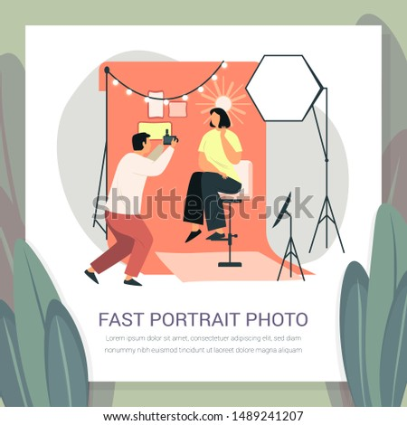 Photographer taking fast portrait photoshoot for woman in dress. Cameraman doing photo shoot with background light and tripod, softbox and lamp. Photo studio interior. Photographing, photography theme