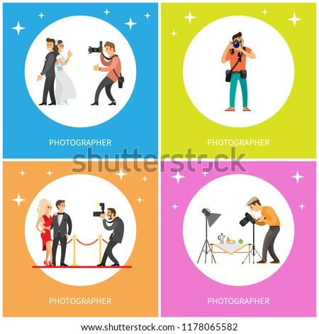 Photographer taking picture of just married couple, journalist making shots of celebrity stars, cameraman photographing food, paparazzi and camera vector