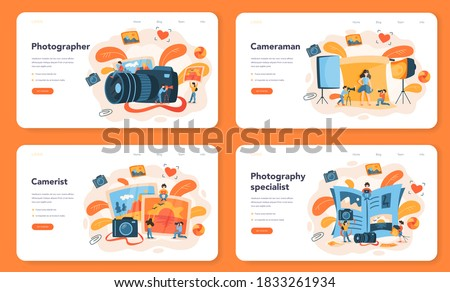 Photographer web banner or landing page set. Professional photographer with camera taking pictures of person, animal, food. Artistic occupation and photography courses. Vector illustration