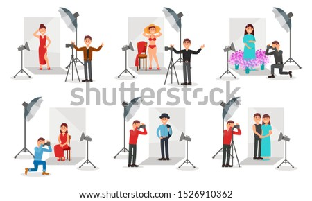 Photographer With Camera Photographing People Vector Illustration Set