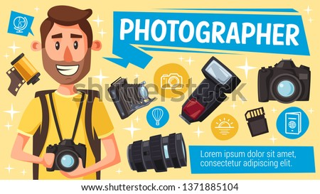 Photographer with photography equipment, digital camera, flash and lens, memory card, vintage camera and film. Vector. Photo journalist and paparazzi creative profession design
