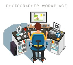 Photographer workplace. Photographer at work. Vector illustration
