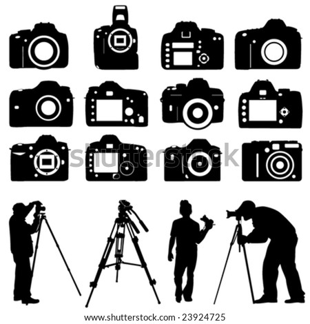 photographers and cameras vector