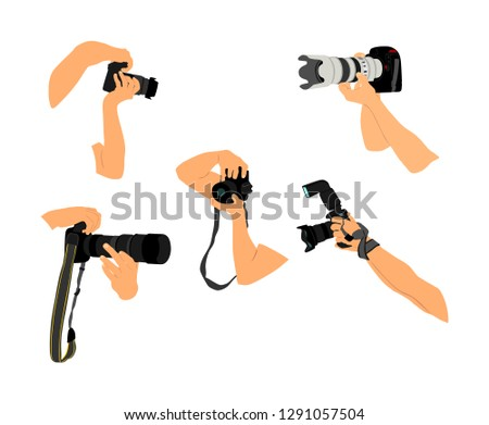 Photographers hands with camera vector illustration. Paparazzi shooting on the event. Photo reporter on duty. Sport photography. Journalist work for breaking news. Wedding fashion photographer.