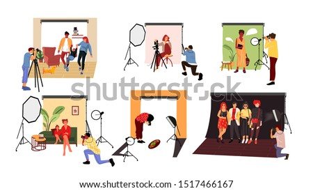 Photographers in studio. Cartoon models working at photo studio in different poses and with costumes Vector illustration photographer with professional equipment photographs couple and family with dog
