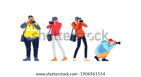 Photographers or paparazzi taking photo. Photojournalist, cameraman documenting war and conflict, street riots. Characters Journalist reporters making pictures. Cartoon flat style vector illustration. Stock foto ©