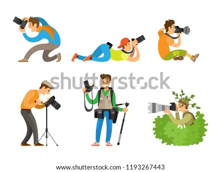 Photographers or paparazzi taking photo with digital cameras from all angles and bush. Journalists or reporters spy and follow vector illustrations.
