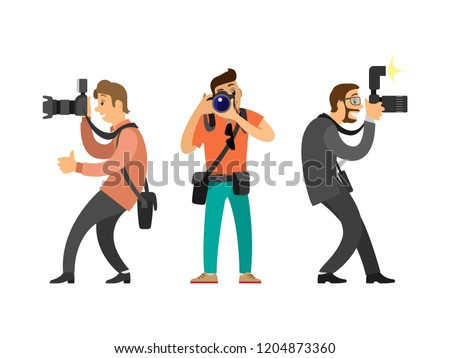 Photographers or paparazzi with digital cameras. Men taking picture, hobby and profession, modern device for photo shooting vector illustrations set.