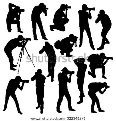 Photographers silhouettes collection isolated on white. Vector illustration