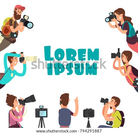 Photographers taking photo. Outdoor photography vector concept. Photographer with photo camera, character paparazzi illustration