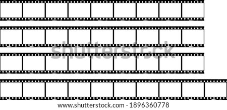Photographic film, empty photo frames, filmstrip with free copy space, 36 frames, vector