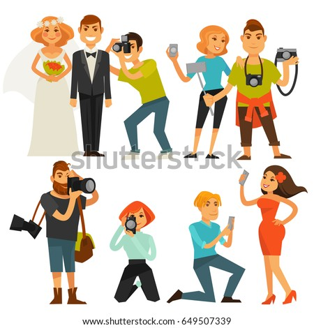 Photography and photographers at travel, wedding or smartphone selfie vector flat icons