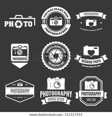 Photography Badges and Labels in Vintage Style. Signs, logos. Vector illustration