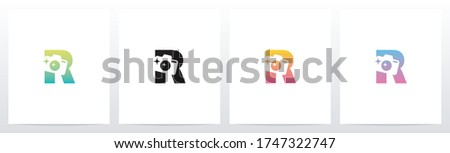 Photography Camera On Letter logo Design R Stock fotó ©
