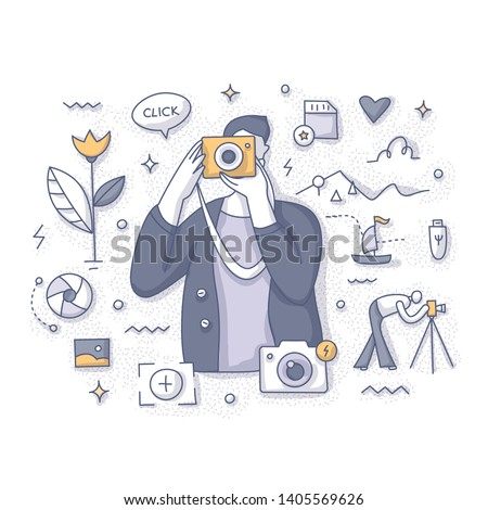 Photography concept. Amateur photographer taking pictures of nature, new places and experiences. Doodle vector spot concept for website, applications or printed materials