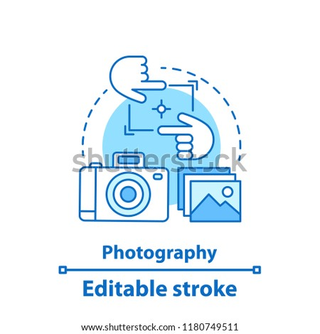 Photography concept icon. Photo camera idea thin line illustration. Taking pictures. Vector isolated outline drawing. Editable stroke