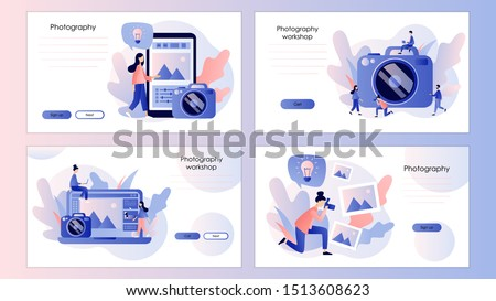 Photography concept. Photography workshop, processing concept. Screen template for mobile smart phone, landing page, template, ui, web, mobile app, poster, banner, flyer. Modern flat cartoon style.