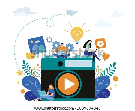 photography courses, tutorials, workshops. vector illustration banner. education concept, distance internet studying. flat cartoon character design for web