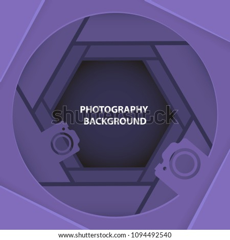 Photography 3D abstract ultra violet background with paper cut shapes