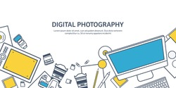 Photography equipment with photo camera on a table.Line art.Stroke lines.Vector illustration in flat outline style.Photography tools, photo editing.Digital photography with single lens photo camera.