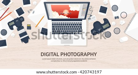 Photography equipment with photo camera on a table.Vector illustration in a flat style.Photography tools, photo editing.Digital photography art with single lens reflex photo camera.Photographer.