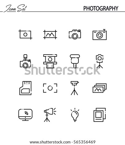 Photography flat icon set. Collection of high quality outline symbols for web design, mobile app. Photography vector thin line icons or logo.