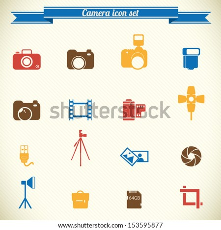 Photography icon set in color