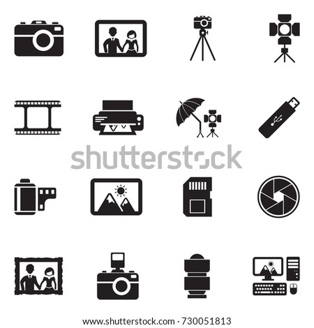 Photography Icons. Black Flat Design. Vector Illustration.