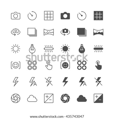 Photography icons, included normal and enable state.