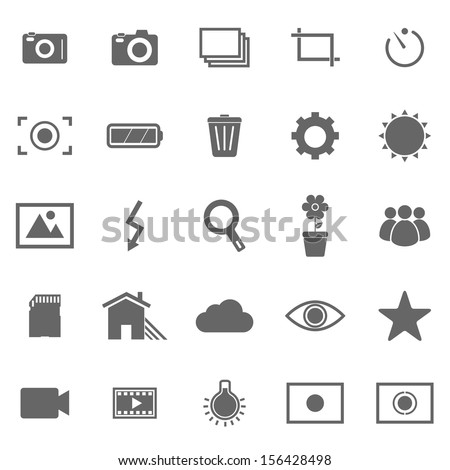 Photography icons on white background, stock vector