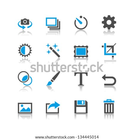 Photography icons reflection theme