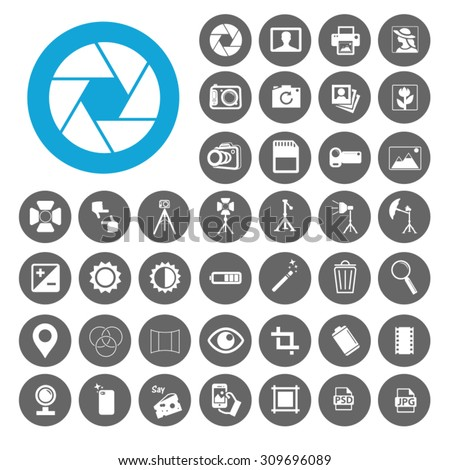 Photography icons set. Illustration EPS10