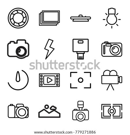 Photography icons. set of 16 editable outline photography icons such as photos, movie tape, camera, camera shutter, flash, center focus