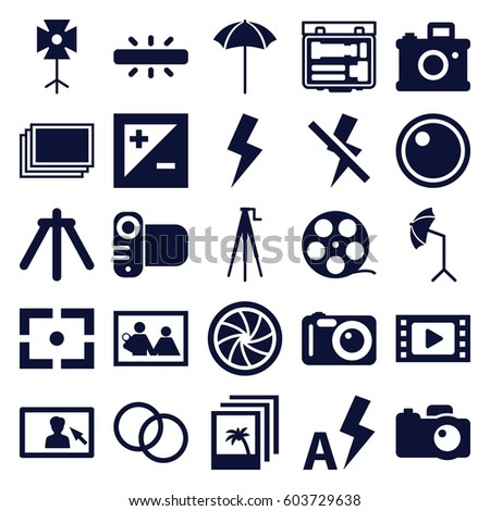 photography icons set set of