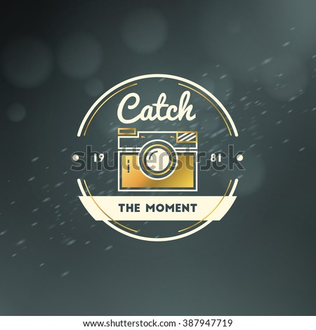 Photography Logo Design Template. Photography Retro Golden Badge. Wedding Photography. Photo Studio. Camera Shop. Photography Community