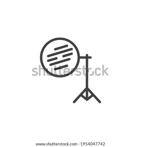 Photography reflector on tripod line icon. linear style sign for mobile concept and web design. Light reflector outline vector icon. Symbol, logo illustration. Vector graphics Stock fotó ©