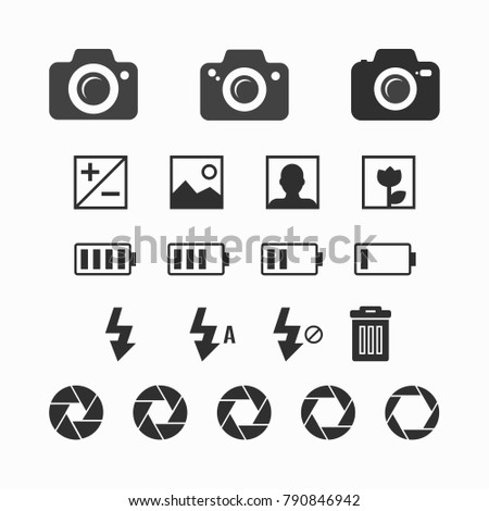 Photography set - Variety of black photography collection design. Vector illustration EPS10.