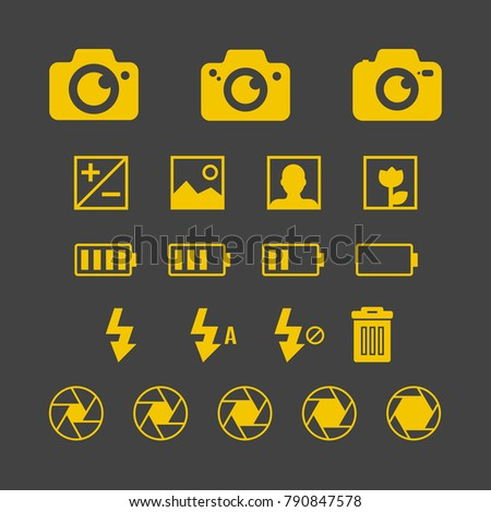 Photography set - Variety of yellow photography collection design. Vector illustration EPS10.