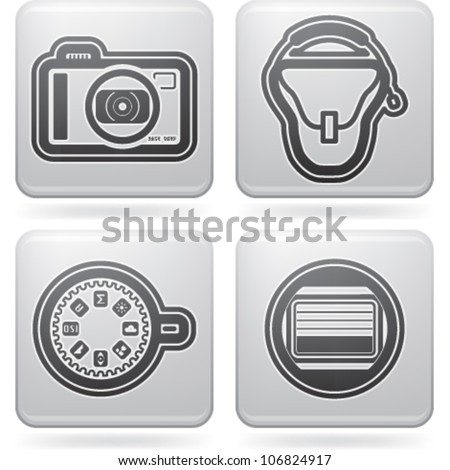 Photography tools & equipment icons set, pictured here from left to right:  Compact camera, Camera bag, Dial button, Camera shutter.